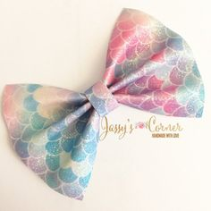 Mermaid Faux Leather Hairbows Mermaid Faux Leather Hairclip