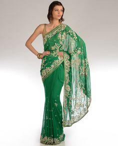 Kelly Green Sari with Heavy Pallu  by DIA