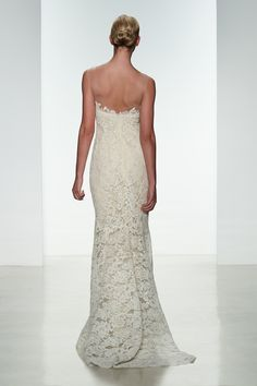 "Amsale Spring 2015 ""Carter"" gown back. Corded lace slim fit to flare gown with silk chiffon underlay #lace"