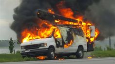 A van burns on Interstate 75 south near University Parkway in Sarasota County. No one was injured.
