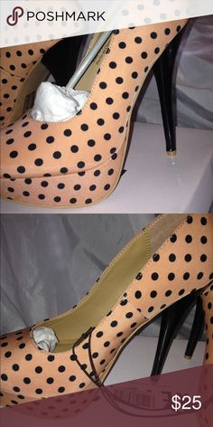 Pink polka dot heels Blush pink silk heels with black polka dots, never worn Forever 21 Shoes Heels