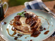 Spice Raisin Pancakes with Rum-Raisin Cream Cheese Glaze recipe from Bobby Flay via Food Network
