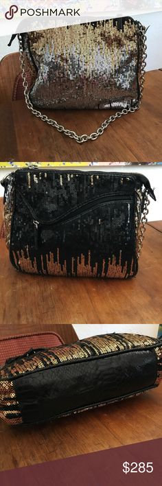 🔥LAST DAY🔥Emilio Pucci Sequin Stunner Bag Gorgeous gorgeous evening bag with lots of sparkle. Ombré sequin Design in gold silver and black with heavyweight silver chain strap. A good size evening bag actually fits your things and is super comfortable because of the soft body. Blemishes to sequins really does look like the design of the bag. Black snakeskin trim. No damage to the bottom. Clean interior. AVailable for trade. Emilio Pucci Bags Shoulder Bags