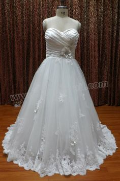 Applique Ruffled Satin and Tulle Ball Gown Wedding Dress with Rhinestones