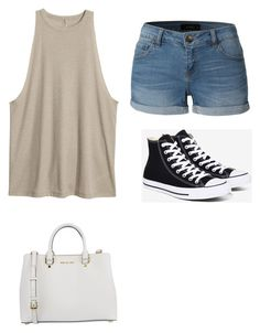 """""""Black"""" by aly-stagich on Polyvore featuring LE3NO, Converse and MICHAEL Michael Kors"""