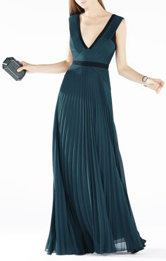 BCBG Evianna Color-Blocked Pleated Gown dark teal