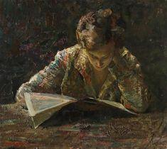 The Reader - Giuseppe Amisani , 1930 Italian,1879-1941 Oil on board. 56.00 x 62.00 cm