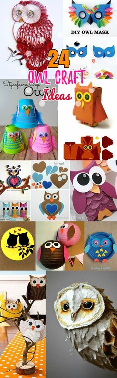 DIY Birds Craft: 24 Easy Paper Owl Craft Ideas for Kids. DIY Animal birds craft ideas - Owl paper plate crafts, toilet paper roll, Lantern, cupcake liner and printable mask owl crafts. Owl Quilling and paper mache art sculptures.