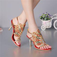 2015 sandali di strass 25 stili pavone scarpe di spessore sottile e cunei tallone del cuoio genuino sandali di strass femminili GS-L012RDX(China (Mainland))