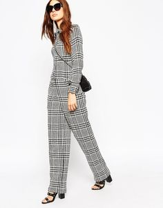 Image 1 of ASOS Premium Houndstooth Check Jumpsuit