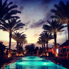Sunset at the Gaylord Palms Resort South Beach pool jayleigh_daniel