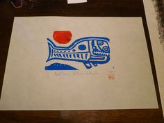 Blue Whale Maori Designs, Red Sun, Blue Whale