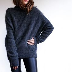 A Cozy Sweater and Leather Leggings