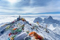 Picture of prayer flags left on Mount Everest