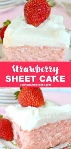 *NEW* Strawberry sheet cake is bursting w/ fresh berries & a hint of tangy lemon! The tender cake & fluffy lemon cream cheese frosting are a must-try! #StrawberryCake #SheetCake #CreamCheeseFrosting Frosting Recipes, Cake Recipes, Strawberry Sheet Cakes, Lemon Cream Cheese Frosting, Homemade Sweets, Moist Cakes, Piece Of Cakes, Creative Cakes, Just Desserts