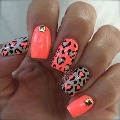 Leopard hearts and square studs nail art design