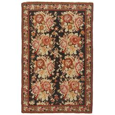 """Doris Leslie Blau Antique Russian Karabagh Rug 4'2""""x6'5"""" (3 080 BGN) ❤ liked on Polyvore featuring home, rugs, wool rugs, oversized rugs, woven area rugs, flower area rug and weave rug"""