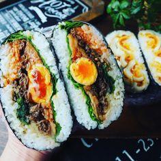 味卵を使って♪ビビンバおにぎらずとデビルズおにぎらず♪ Onigirazu, K Food, Asian Recipes, Ethnic Recipes, Tasty, Yummy Food, Avocado Egg, Korean Food, Lunches And Dinners
