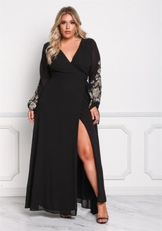 Plus Size Clothing | Plus Size Chiffon Embroidered Sleeve Wrap Maxi Dress | Debshops