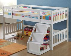 NEW-CUTIE-CONTEMPORARY-WHITE-FINISH-WOOD-TWIN-LOFT-BED-w-STAIRS