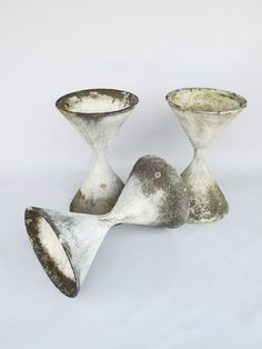 // Willy Guhl, Cement Diabolo Planters for Eternit, 1950s.