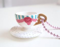 Mini pink and blue teacup necklace