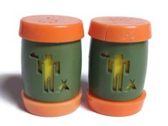 Vintage Salt and Pepper Shakers Olive Green orange by RayMels