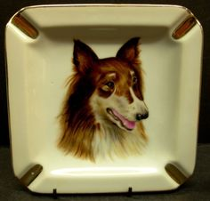 Square Dog Ashtray Porcelain Gilded Collie by Snowyowltreasures