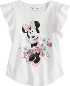 Disney Minnie Mouse Toddler Girls Floral Flutter Sleeve Shift Tee by Jumping Beans® Stylish Toddler Girl, Toddler Boy Fashion, Baby Girl Fashion, Toddler Girls, Girls 4, Fashion Design For Kids, Kids Fashion, Disney Outfits, Disney Clothes