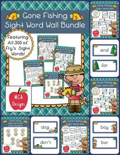This bundle features all 300 of Fry's sight words! 196 pages of  fishing themed word wall posters to brighten your classroom!  My Gone Fishing Sight Word Wall Bundle includes: All 300 Fry sight words Fishing themed word wall letter headers #mca3designs #sightwords #reading #ela #tpt #wordwall #teacherspayteachers #literacy