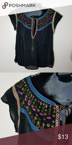 Nanette lepore top Boho peasant style top with embellishment around the neckline Nanette Lepore Tops Blouses