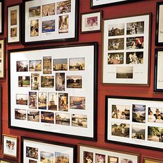 On this wall of memories each frame illustrates a past family vacation. The frames and mats are kept similar for a cohesive look. Don't forget to include the event and date!