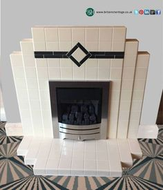 Newest Absolutely Free pottery art deco Concepts Art Deco Period Tiled + High Efficient kW Gas Fireplace Suite Reference: RTI Price: Fireplace Tile, Fireplace Suites, Diy Furniture Renovation, Art Deco Kitchen, Interior Deco, Art Deco Furniture, Gas Fireplace, Fireplace Art, Art Deco Lighting