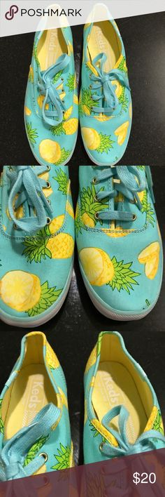 Women's Teal Keds Pineapple Canvas Shoes 7.5 Good condition! Size 7.5 Keds Shoes Flats & Loafers