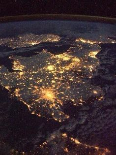 The UK and Ireland at night, from 230 miles above Earth