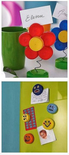 plastic caps of different colors = a name holder or a magnet - diyc Cute Crafts, Craft Stick Crafts, Crafts To Do, Diy Crafts For Kids, Recycled Art Projects, Upcycled Crafts, Craft Projects, Projects To Try, Bottle Cap Projects