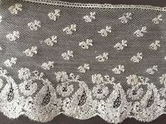 Early 1800s Handmade Mechlin Bobbin Wide Lace Edging Yardage Couture Collect | eBay