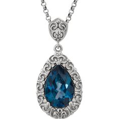 The Luxury of Color Gemstones Jewelry that Captures her Style and Expresses her Attitude, The Jewelry Hut Fancy Designer Antique Retro Vintage SCULPTURAL Style Blue Topaz in 14 White Gold Necklace on 18 inches 14 KT White Gold Chain featuring one Genuine 12 X 8 mm Faceted Pear Shape London Blue Topaz. Blue topaz is one of the accepted birth stones for December and anniversary gemstone for 4th year of marriage, and Imperial topaz for the 23rd.