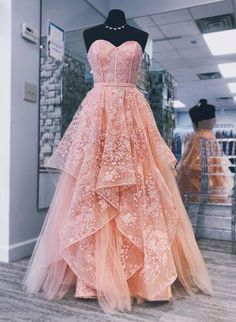 A-line Sweetheart Peach Prom Dresses Gorgeous Long Prom Dress Evening Gowns Prom Dresses Long Pink, Princess Prom Dresses, Pretty Prom Dresses, Sweet 16 Dresses, Elegant Dresses, Maxi Dresses, Sweet Sixteen Dresses, Awesome Dresses, Pink Princess Dress