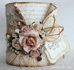 Amazing Ideas To Decoupage Tin Can Planters Tin Can Crafts, Diy And Crafts, Paper Crafts, Soup Can Crafts, Coffee Can Crafts, Creative Crafts, Altered Tins, Altered Bottles, Altered Art