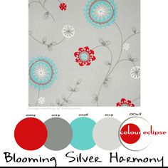 'Blooming Silver Harmony' paint palette, color palettes, color schemes, Premier Prints Emma Twill Harmony fabric, pantone fiesta