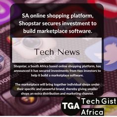 SA online shopping platform, Shopstar secures investment to build marketplace software. _________________ Shopstar, a South Africa based online shopping platform, has announced it has secured investments from two investors to help it build a marketplace software.  Although loads of small and medium sized businesses are running an online shop on Shopstar, the startup realised that smaller brands are still finding it difficult to sell online, requiring extra marketing clout. Lead The Way, Event Organization, Mobile Application, Selling Online, Investors, Tech News, Good News, Bring It On, Product Launch