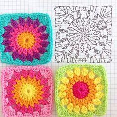 Easy to make crochet granny square pattern. Free crochet chart by Color'n cream Color 'n Cream Crochet and Dream: New Flower Square crochê passo a passo ( Crochet Flower Squares, Granny Square Crochet Pattern, Crochet Blocks, Crochet Flower Patterns, Crochet Diagram, Crochet Chart, Crochet Blanket Patterns, Crochet Granny, Crochet Motif