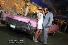 a couple recently married at the Little White Chapel, one of the cheesiest in Vegas.Elvis and a pink caddy! Little White Chapel, Las Vegas Weddings, Las Vegas Strip, Wedding Announcements, Professional Photographer, Wedding Photography, Photoshoot, Couples, Pink