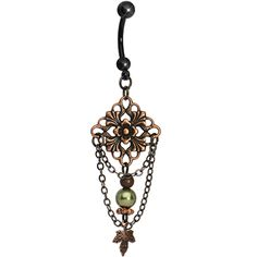 Handcrafted Black Vintage Copper Chandelier Belly Ring #piercing #bellyring #bodycandy