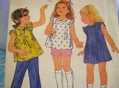 Vintage BUTTERICK #3689 GIRLS SZ 6 - DRESS, TOPS, SHORTS, PANTS