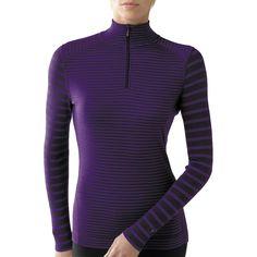 SmartWool NTS Pattern Zip Neck Base Layer Top -Merino Wool, Midweight, Long Sleeve (For Women) in Deep Purple Stripe