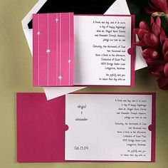 Now and Forever: Flower Drop - Pink Wedding Invitations