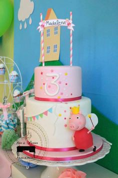 Pin for Later: A Peppa Pig-Themed Birthday Party Tortas Peppa Pig, Cumple Peppa Pig, Birthday Party Places, Birthday Party Themes, Birthday Ideas, 3rd Birthday, Birthday Wishes, Happy Birthday, Peppa Pig House