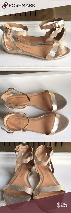 NWOT Chinese Laundry Rose Gold Sandals Ankle strap Super pretty rose gold Chinese laundry flat sandals. Scalloped edges on straps and toes perfect condition never worn. Size 9 Chinese Laundry Shoes Sandals